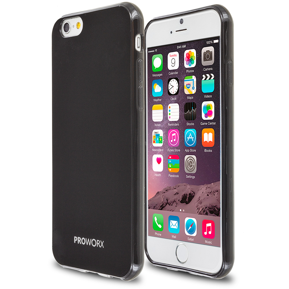 Apple iPhone 6 6S (4.7) Black ProWorx Ultra Slim Thin Scratch Resistant TPU Silicone Case Cover