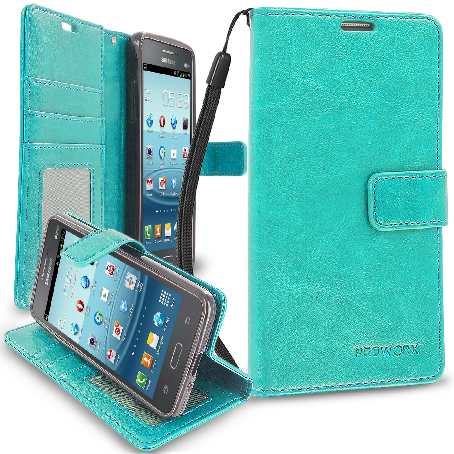 Samsung Galaxy Grand Prime LTE G530 Mint Green ProWorx Wallet Case Luxury PU Leather Case Cover With Card Slots & Stand
