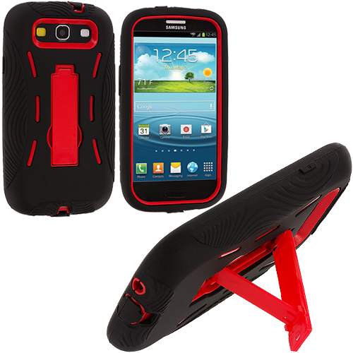 Samsung Galaxy S3 Black / Red Hybrid Heavy Duty Hard/Soft Case Cover with Stand