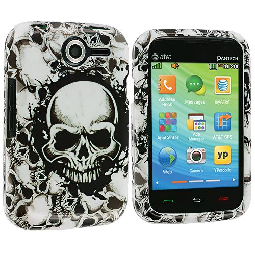 Pantech Renue 6030 Black / White Skulls Design Crystal Hard Case Cover