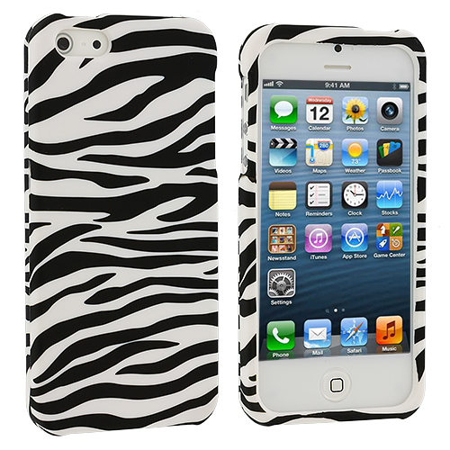Apple iPhone 5/5S/SE 4 in 1 Combo Bundle Pack - Leopard Zebra Pink Hard Rubberized Design Case Cover : Color Black / White Zebra