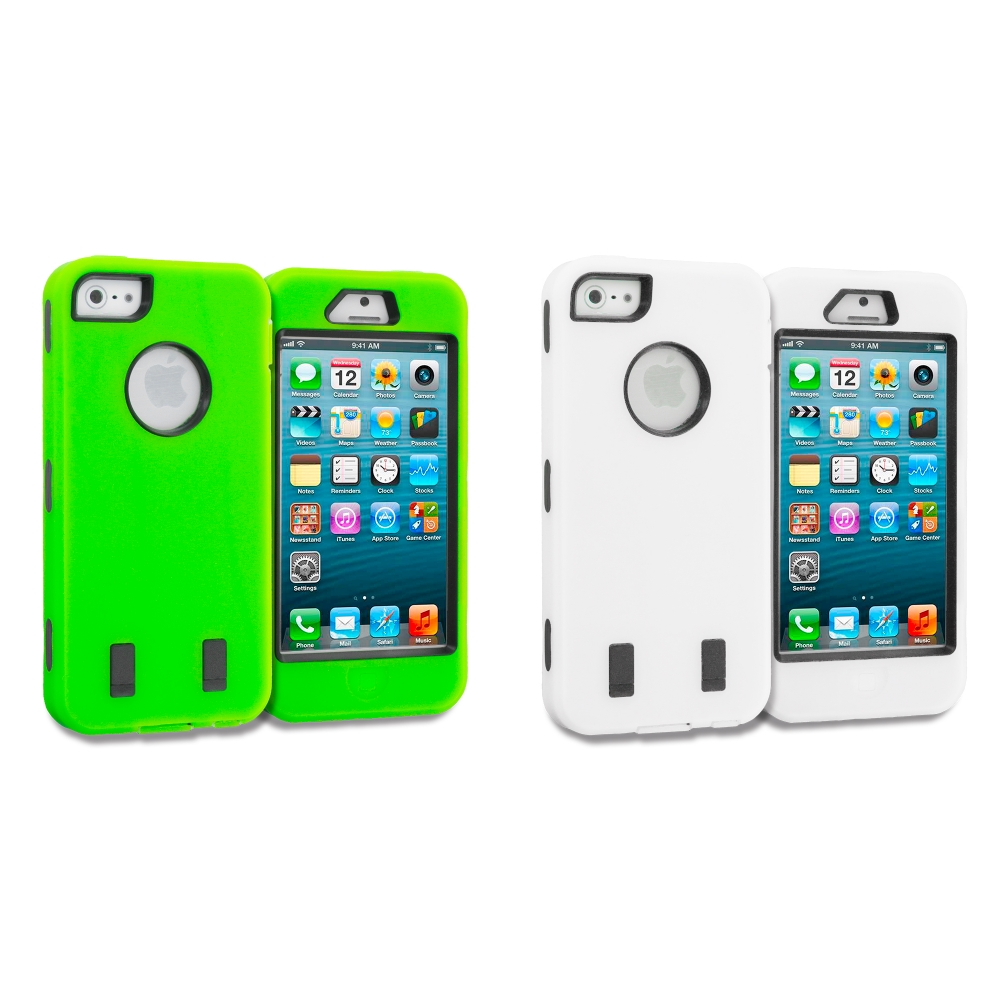 Apple iPhone 5/5S/SE Combo Pack : Neon Green Deluxe Hybrid Deluxe Hard/Soft Case Cover