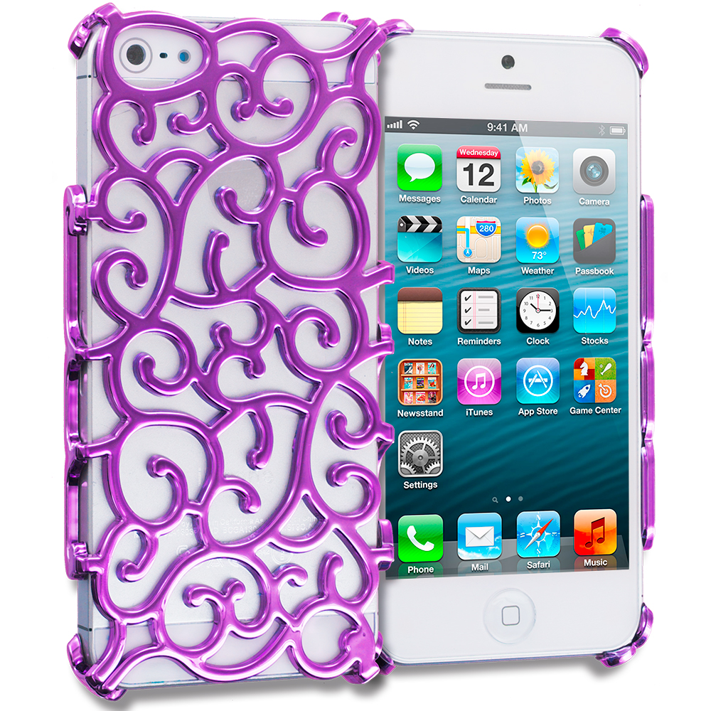 Apple iPhone 5/5S/SE Combo Pack : Hot Pink Floral Crystal Hard Back Cover Case : Color Purple Floral