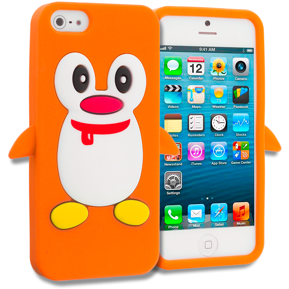 Apple iPhone 5/5S/SE Combo Pack : Orange Penguin Silicone Design Soft Skin Case Cover : Color Orange Penguin