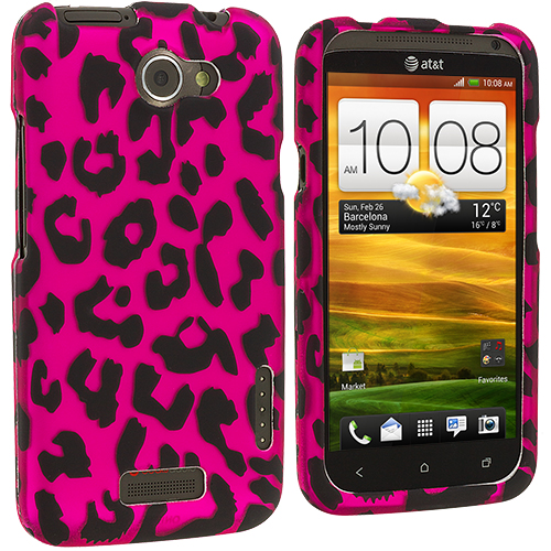 HTC One X Hot Pink Leopard Hard Rubberized Design Case Cover