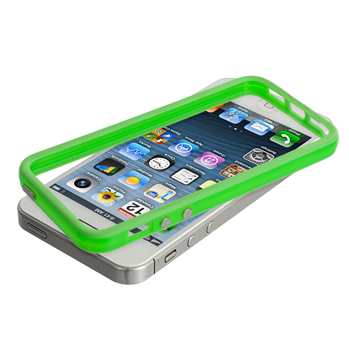 Apple iPhone 5/5S/SE Solid Neon Green TPU Bumper with Metal Buttons