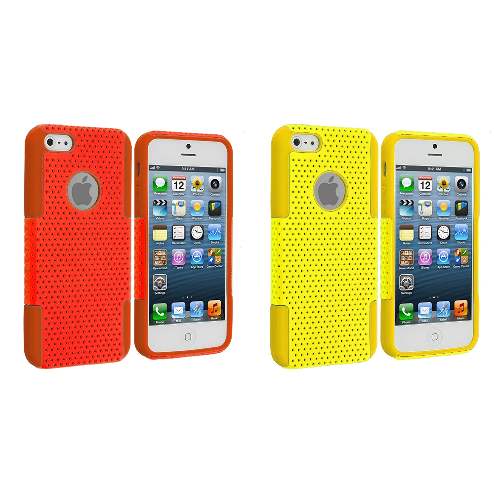 Apple iPhone 5/5S/SE Combo Pack : Orange / Orange Hybrid Mesh Hard/Soft Case Cover