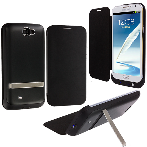 Samsung Galaxy Note 2 II N7100 Black External Backup Battery Case Cover