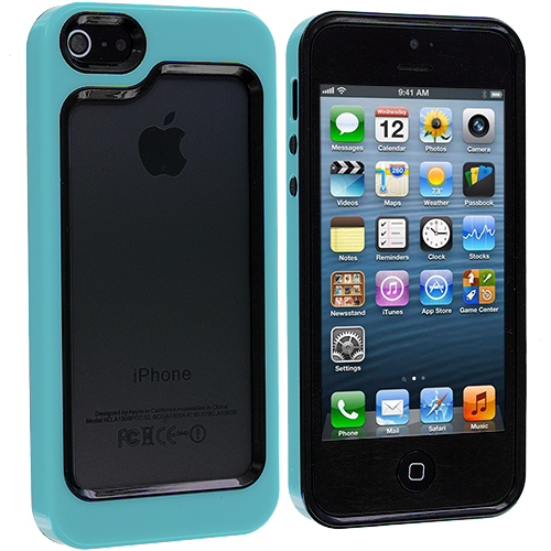 Apple iPhone 5/5S/SE 2 in 1 Combo Bundle Pack - Pink Baby Blue Hybrid TPU Bumper Case Cover : Color Black / Baby Blue