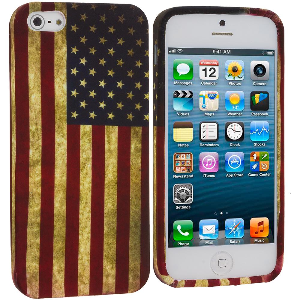 Apple iPhone 5/5S/SE USA Flag TPU Design Soft Case Cover