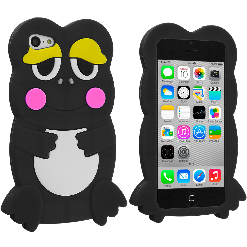 Apple iPhone 5C Black Frog Silicone Design Soft Skin Case Cover