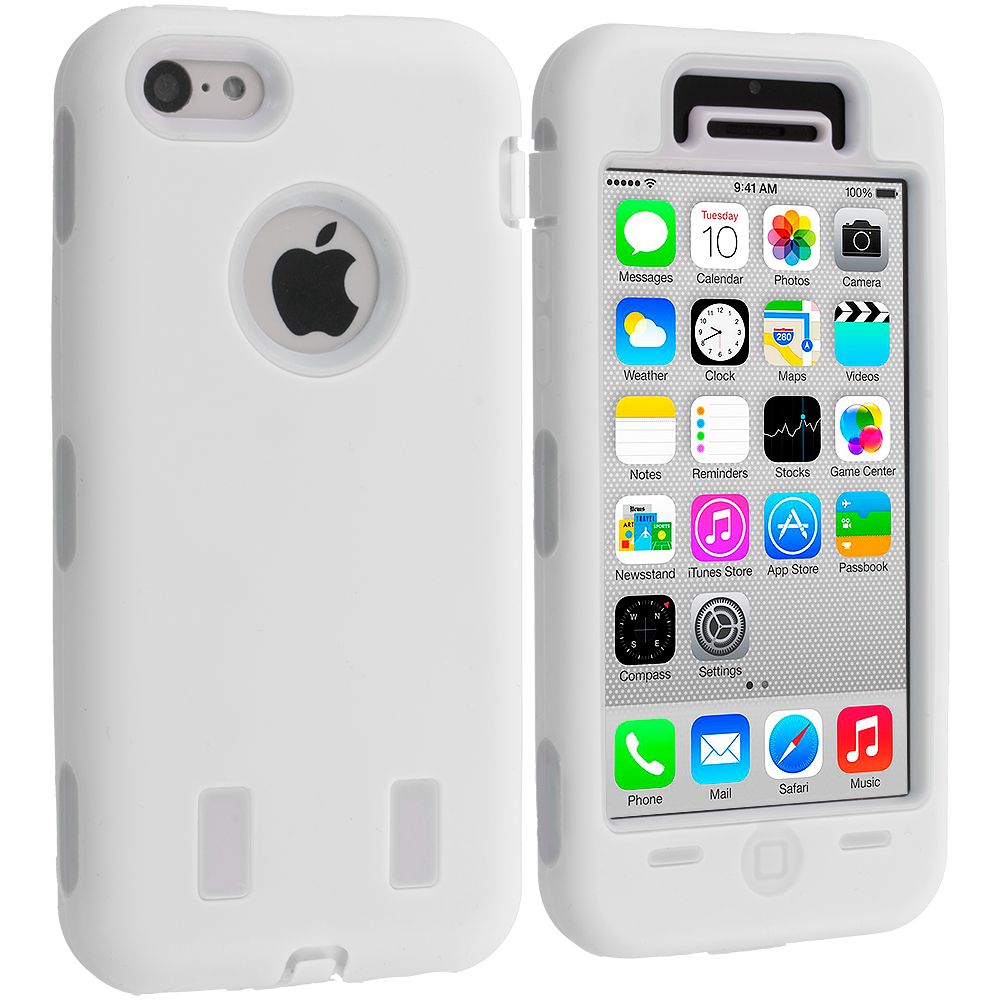 Apple iPhone 5C White / White Hybrid Deluxe Hard/Soft Case Cover