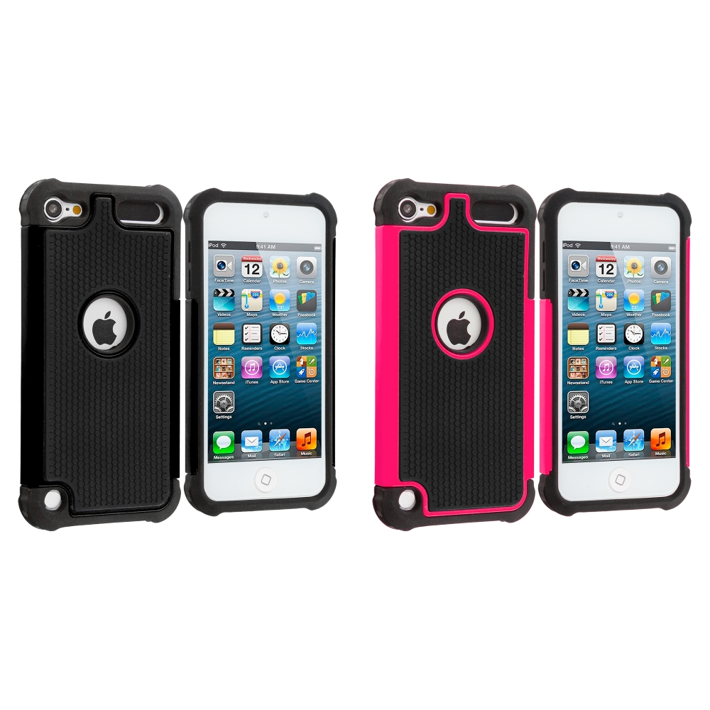 Apple iPod Touch 5th 6th Generation 2 in 1 Combo Bundle Pack - Black / Pink Hybrid Rugged Hard/Soft Case Cover