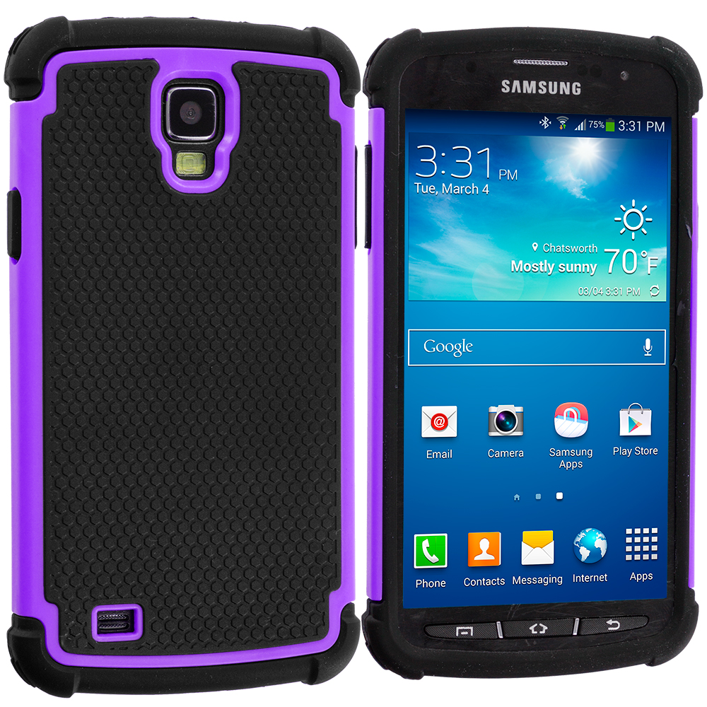 Samsung Galaxy S4 Active i537 Black / Purple Hybrid Rugged Hard/Soft Case Cover