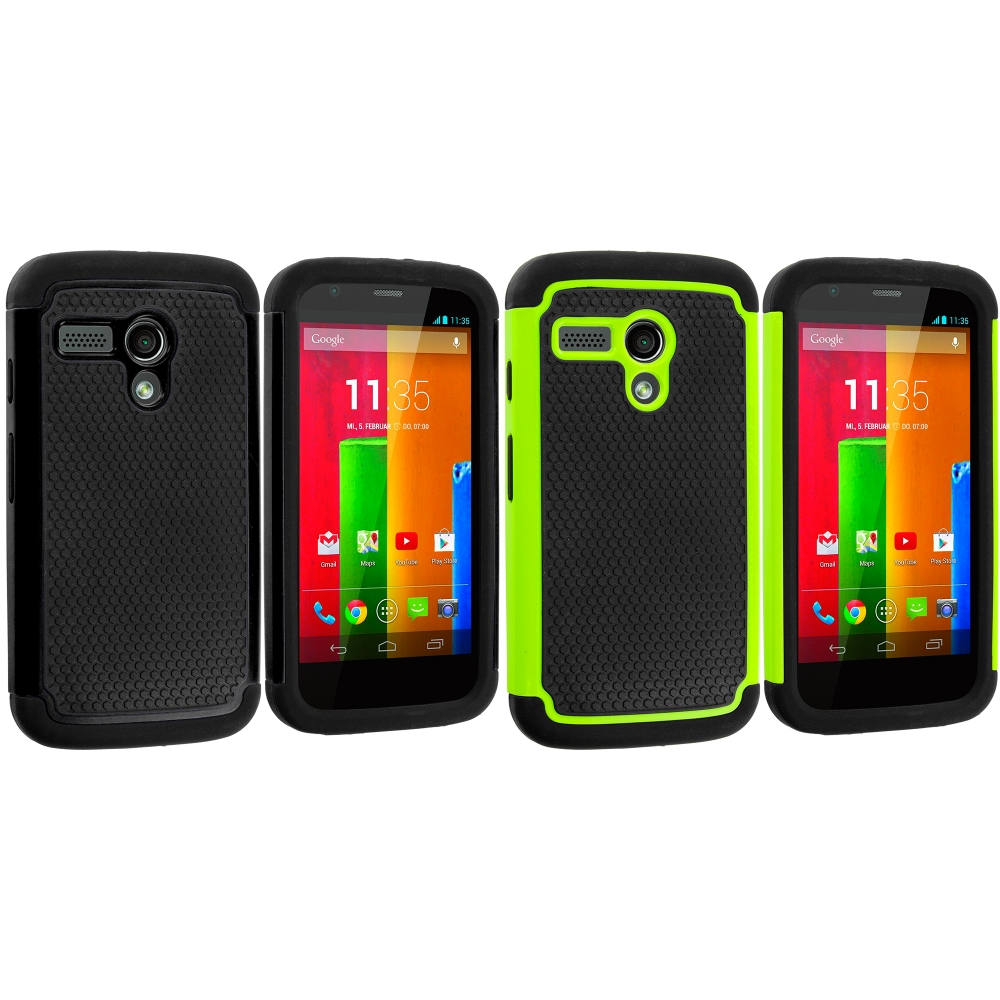 Motorola Moto G 2 in 1 Combo Bundle Pack - Black / Green Hybrid Rugged Hard/Soft Case Cover