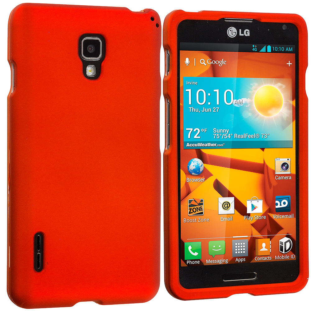 LG Optimus F7 Orange Hard Rubberized Case Cover
