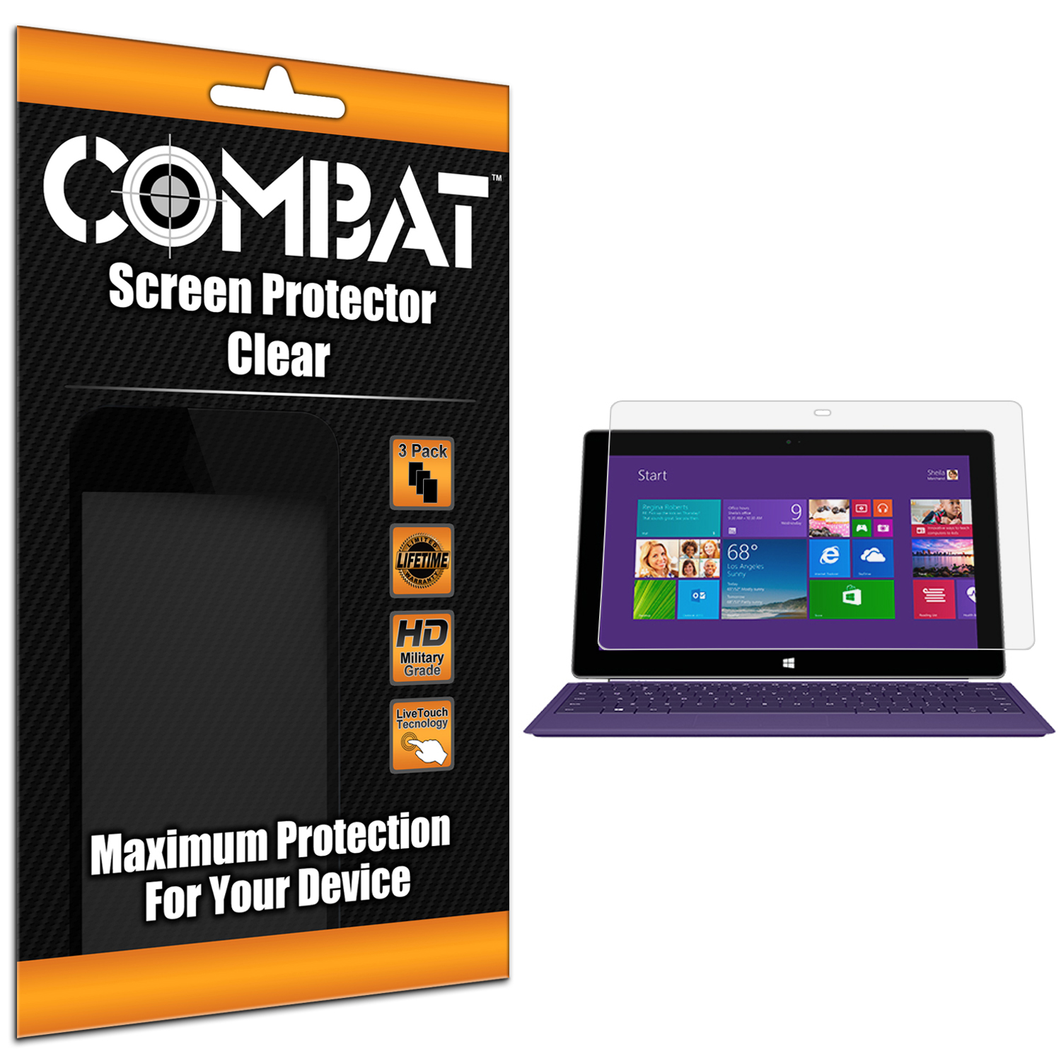 Microsoft Surface RT / Surface 2 Combat 3 Pack HD Clear Screen Protector