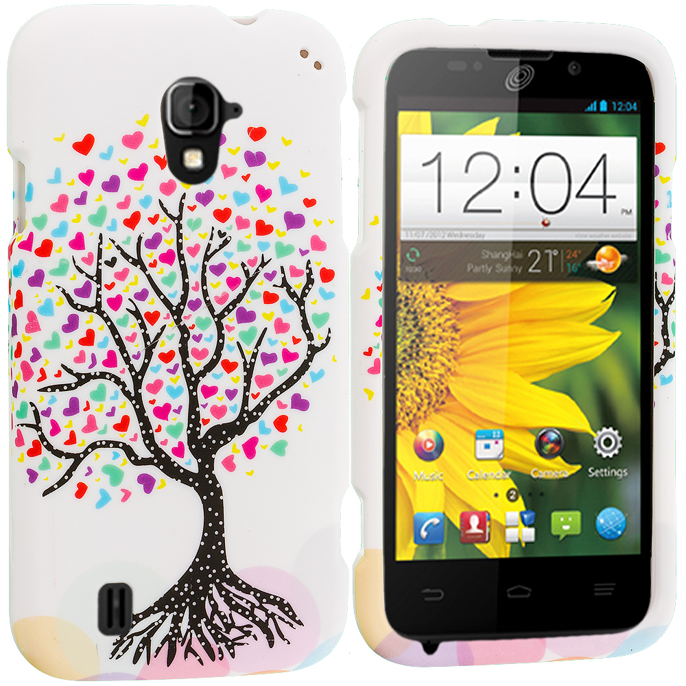ZTE Majesty Z796C Love Tree on White Hard Rubberized Design Case Cover