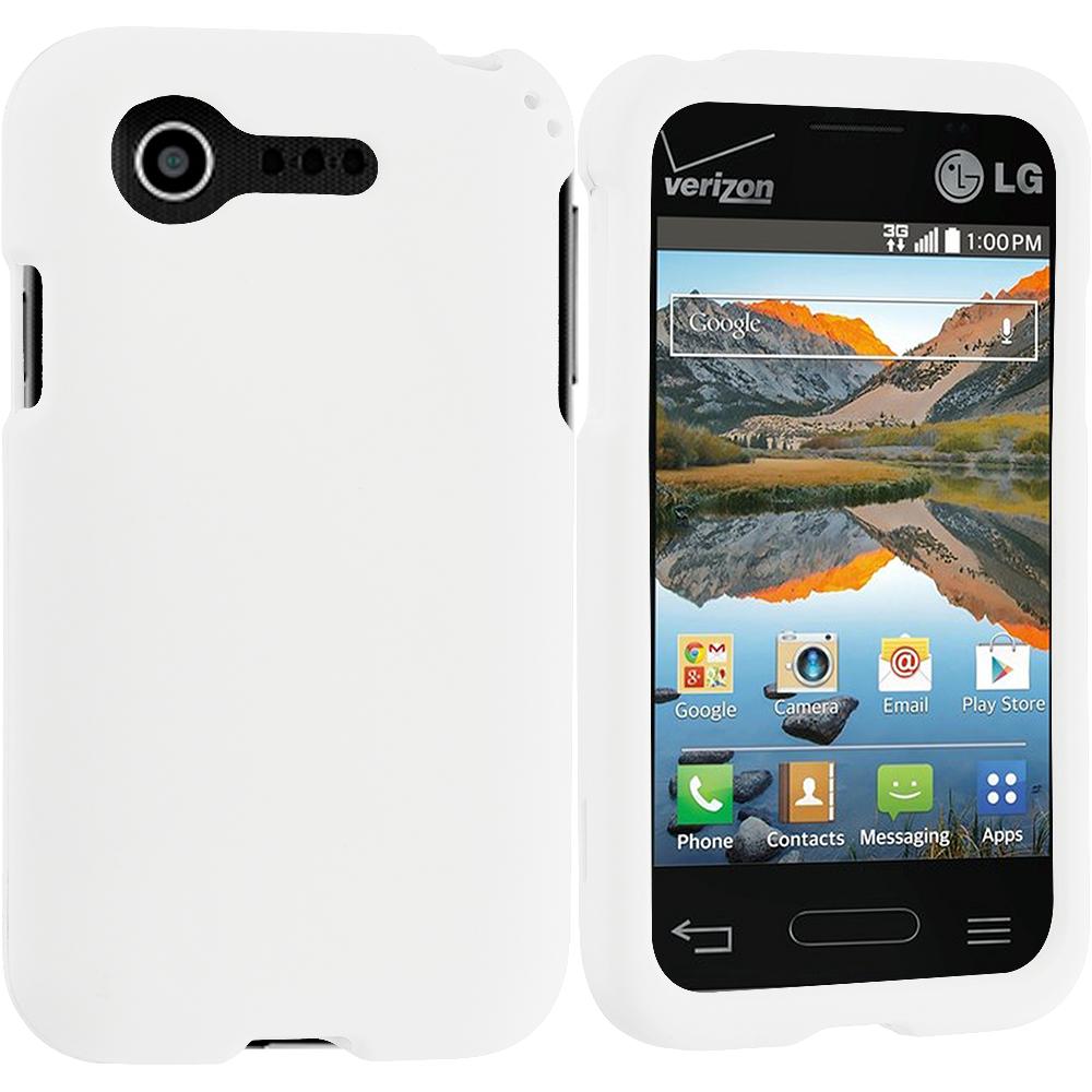 LG Optimus Zone 2 / Fuel L34C White Hard Rubberized Case Cover