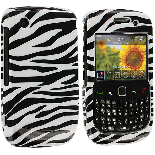 BlackBerry Curve 8520 8530 3G 9300 9330 Black / White Zebra Design Crystal Hard Case Cover