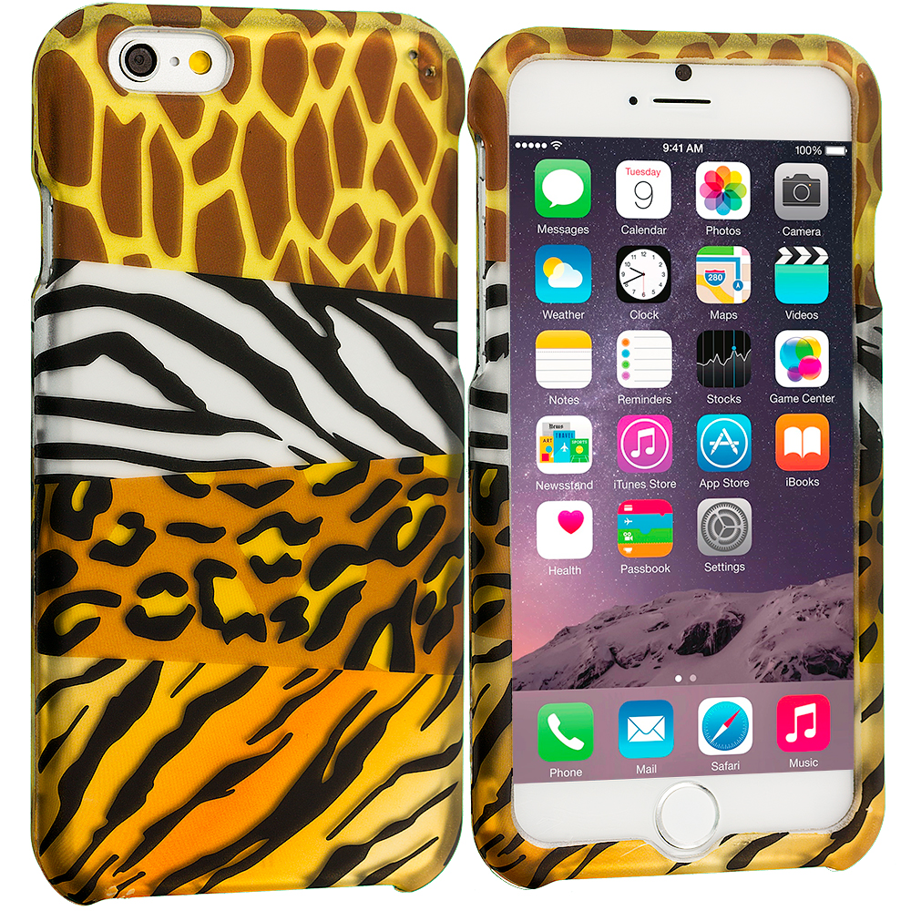 Apple iPhone 6 6S (4.7) Mix Animal Skin 2D Hard Rubberized Design Case Cover