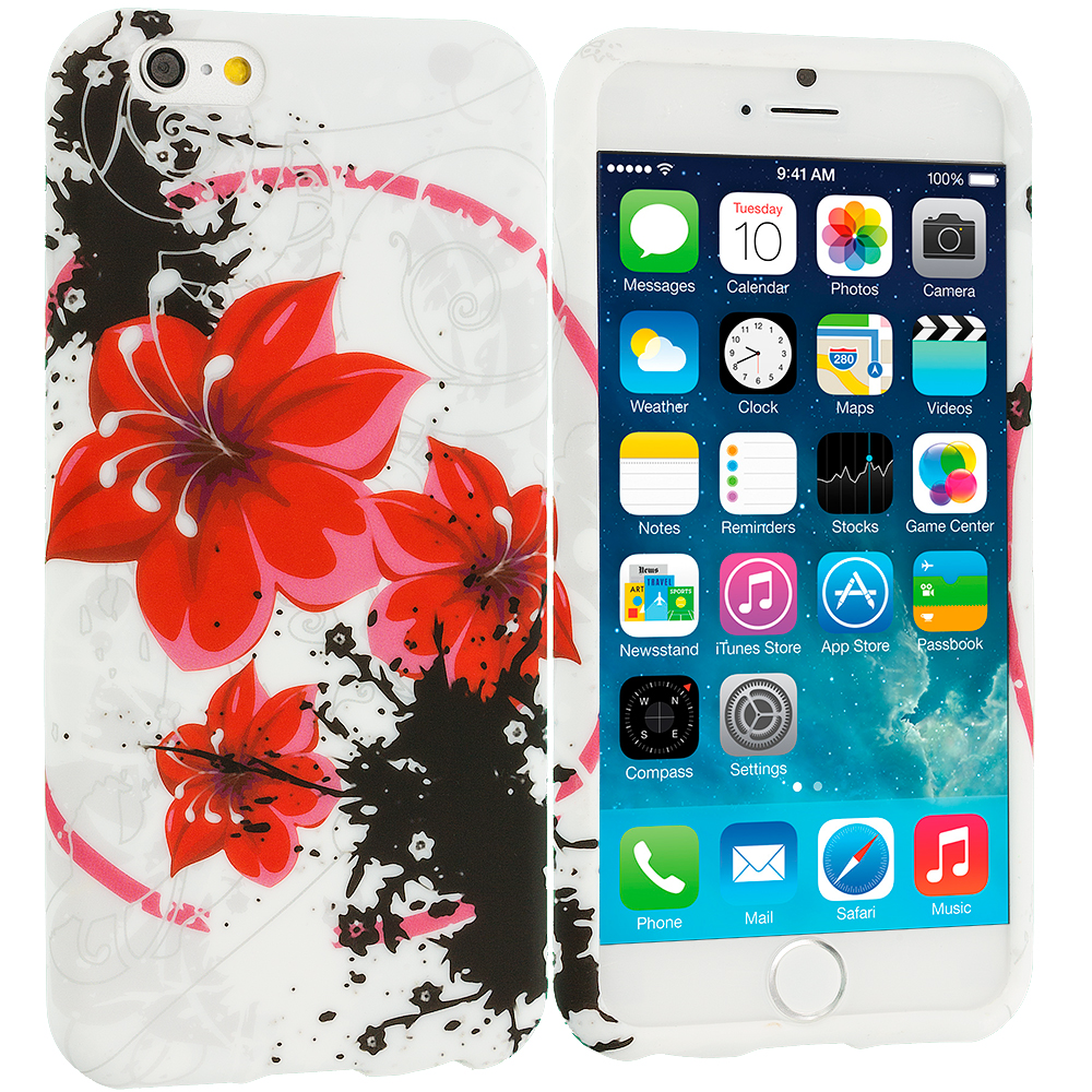 Apple iPhone 6 Plus 6S Plus (5.5) Red n Black Flower Chain TPU Design Soft Rubber Case Cover