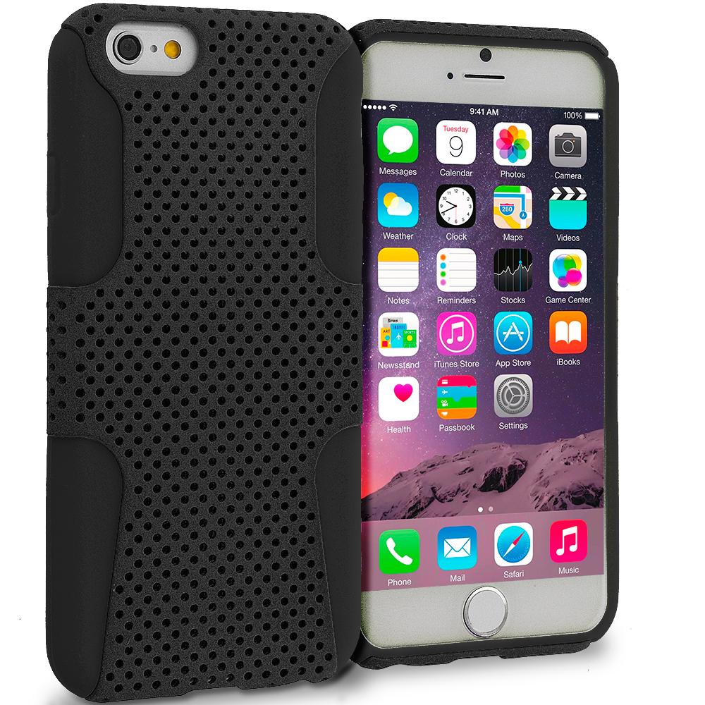 Apple iPhone 6 Plus 6S Plus (5.5) Black / Black Hybrid Mesh Hard/Soft Case Cover
