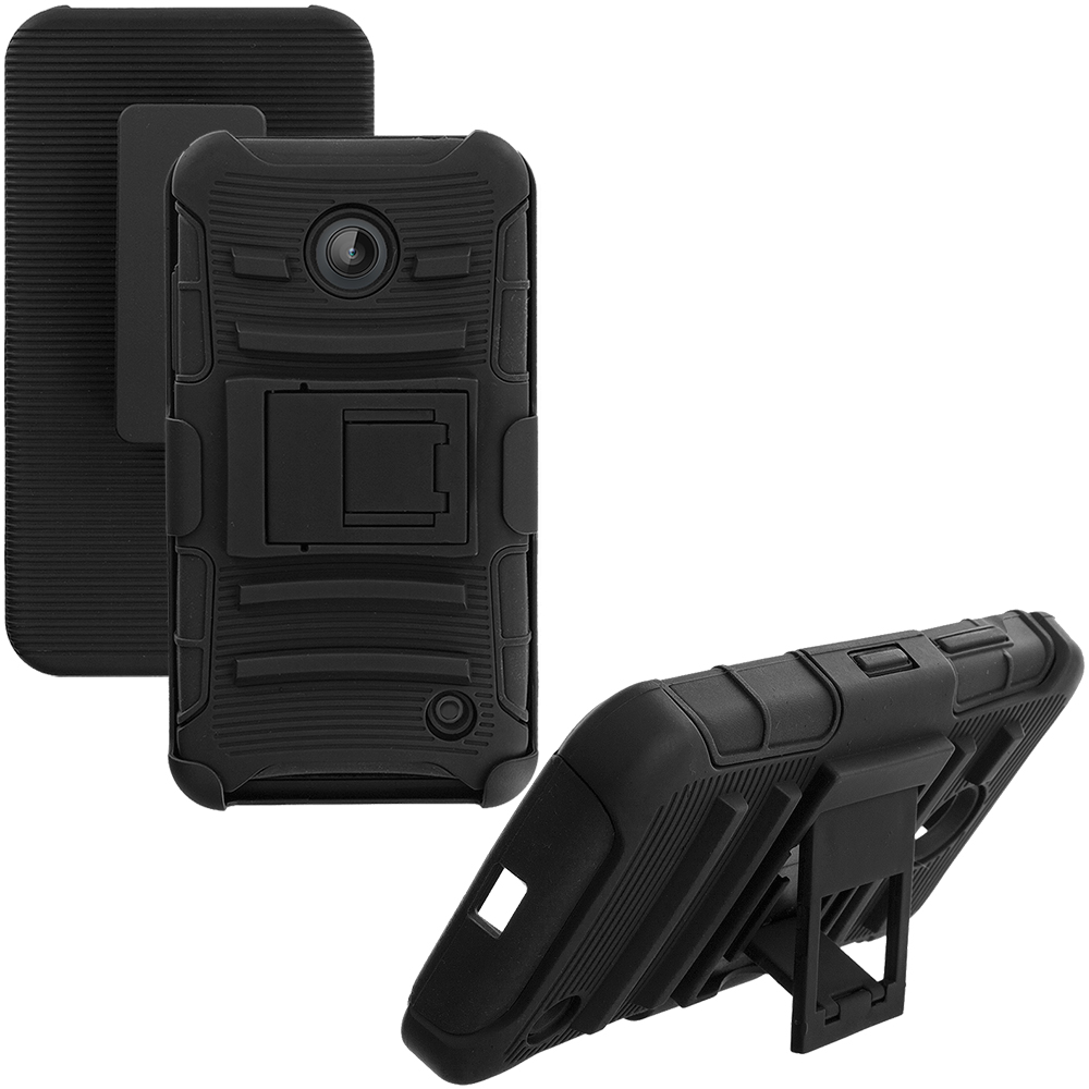 Nokia Lumia 630 635 Black Hybrid Heavy Duty Rugged Case Cover with Belt Clip Holster