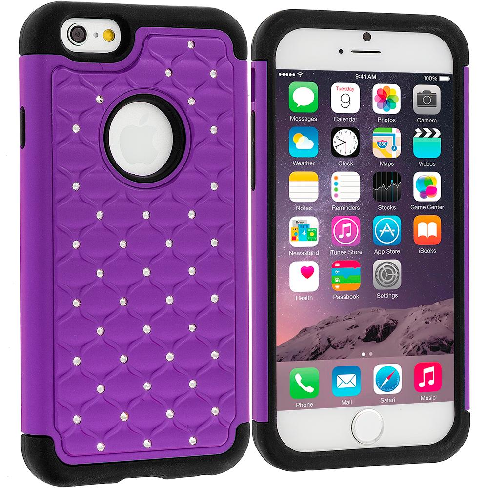 Apple iPhone 6 Plus 6S Plus (5.5) 5 in 1 Combo Bundle Pack - Hard Rubberized Diamond Case Cover : Color Purple