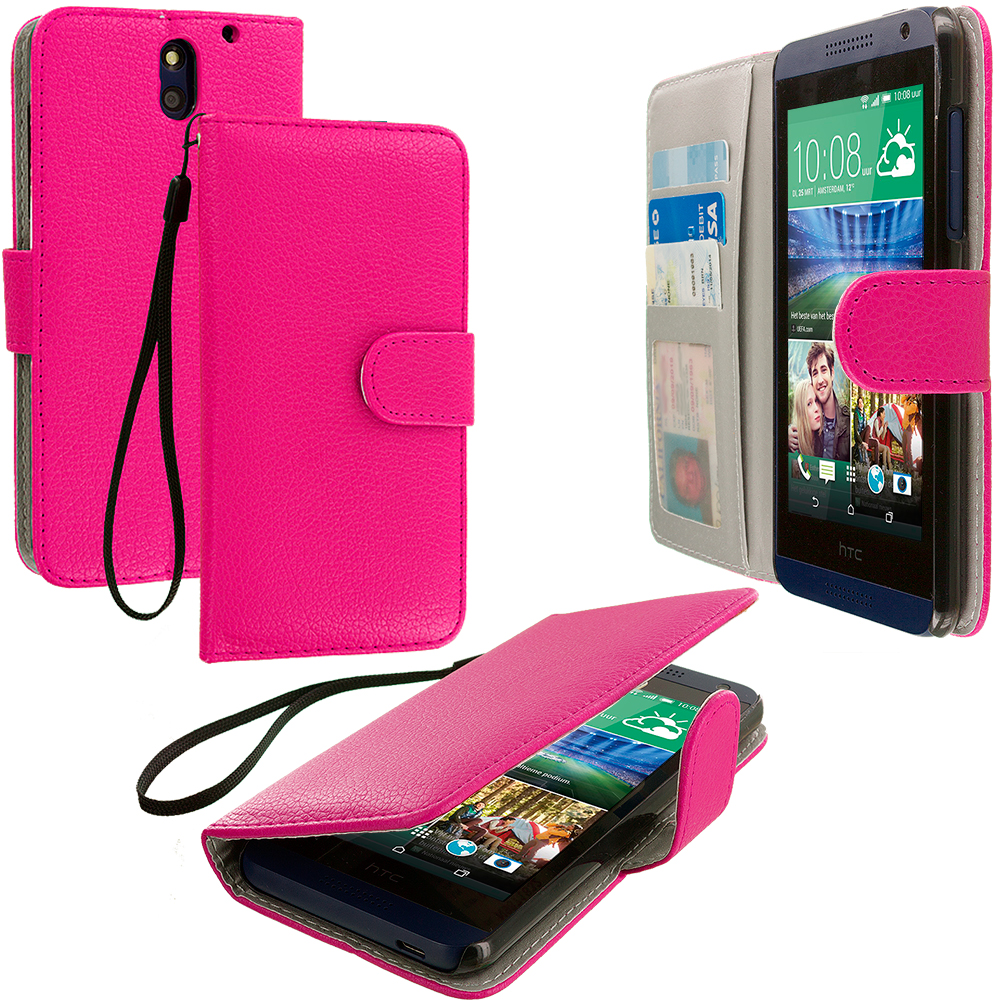 HTC Desire 610 Hot Pink Leather Wallet Pouch Case Cover with Slots