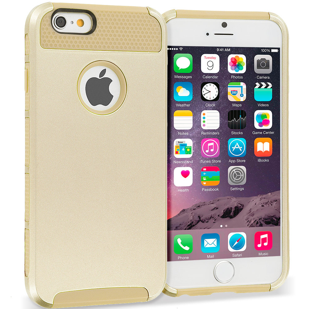 Apple iPhone 6 6S (4.7) 4 in 1 Combo Bundle Pack - Hybrid Hard TPU Honeycomb Rugged Case Cover : Color Gold / Gold