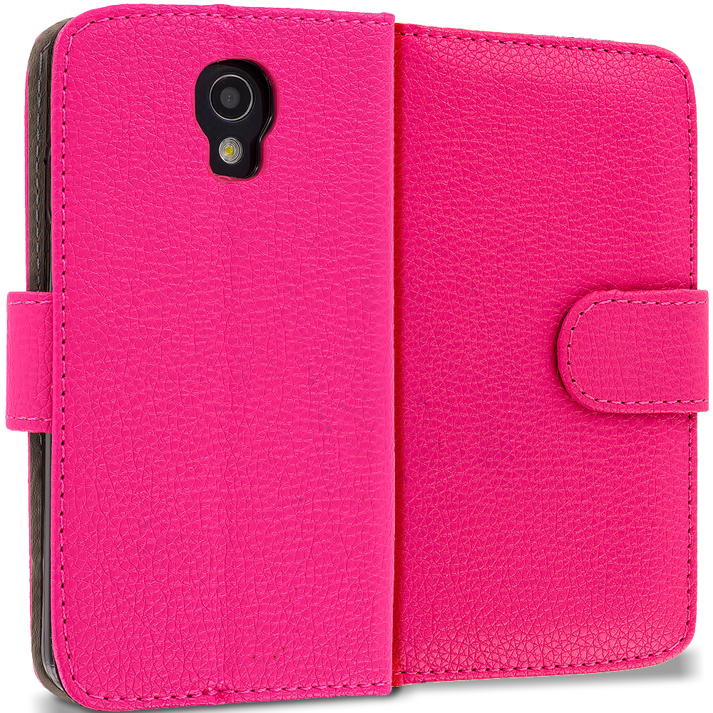LG Volt LS740 Hot Pink Leather Wallet Pouch Case Cover with Slots