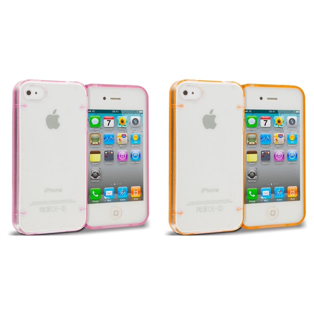 Apple iPhone 4 / 4S 2 in 1 Combo Bundle Pack - Pink Gold Crystal Robot Hard TPU Case Cover