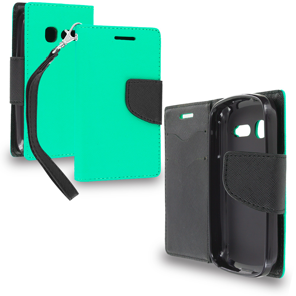 Alcatel One Touch Pop C1 Mint Green / Black Leather Flip Wallet Pouch TPU Case Cover with ID Card Slots