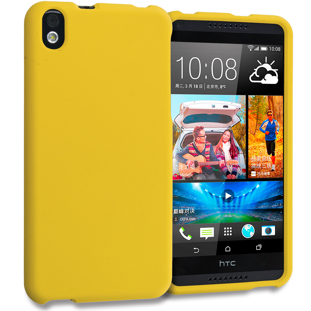 HTC Desire 816 Yellow Hard Rubberized Case Cover