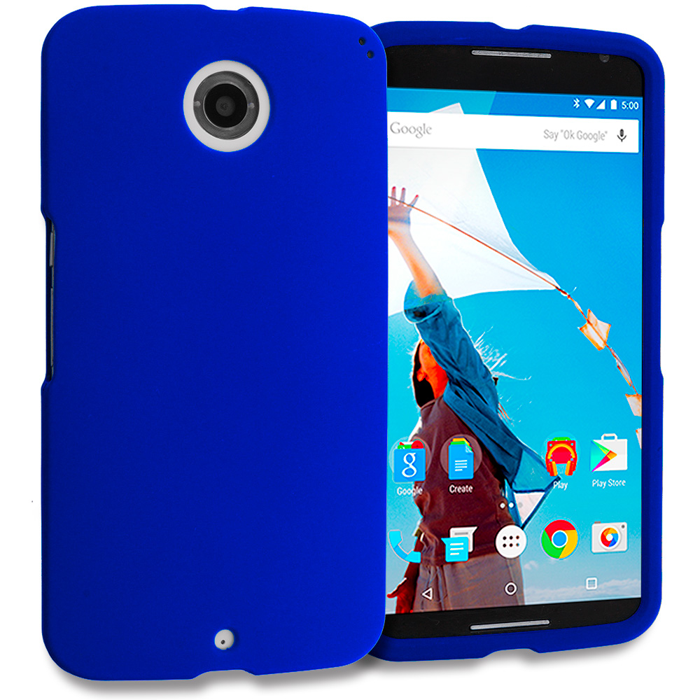 Motorola Google Nexus 6 Blue Hard Rubberized Case Cover