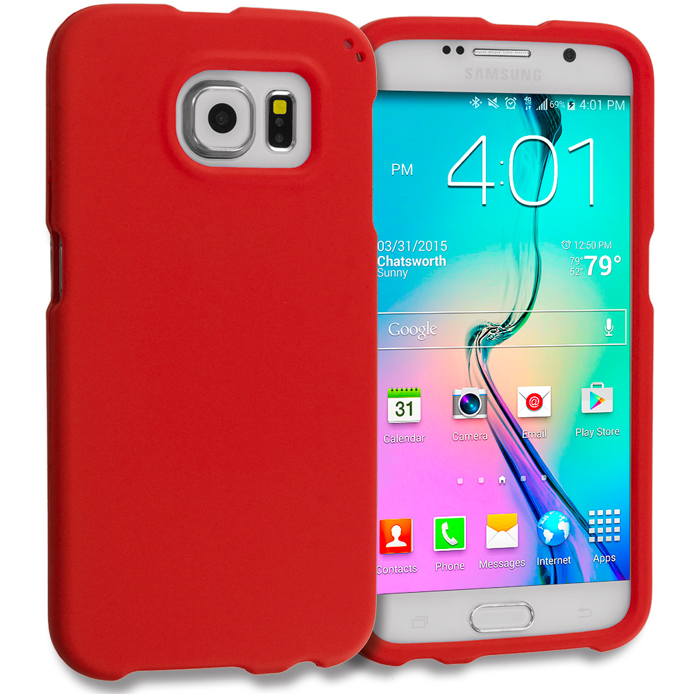 Samsung Galaxy S6 2 in 1 Combo Bundle Pack - Hard Rubberized Case Cover : Color Red