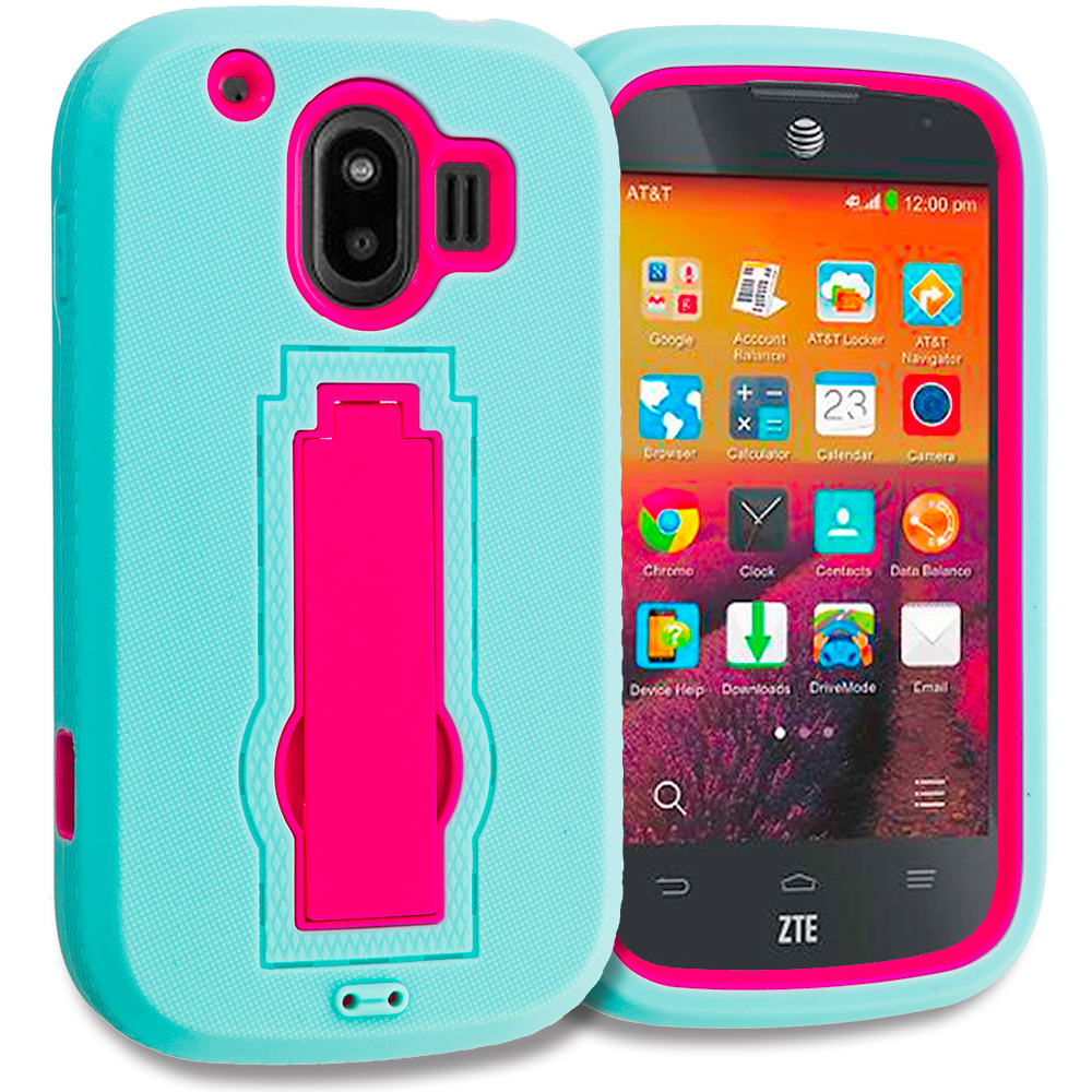 ZTE Compel Teal / Hot Pink Hybrid Heavy Duty Hard Soft Case Cover with Kickstand