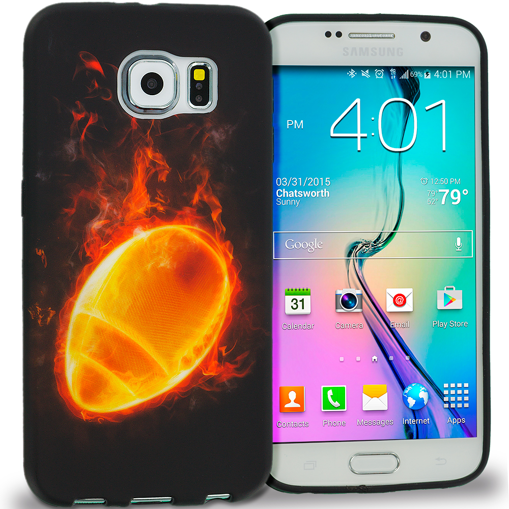 Samsung Galaxy S6 Combo Pack : Red Flame TPU Design Soft Rubber Case Cover : Color Flaming Football