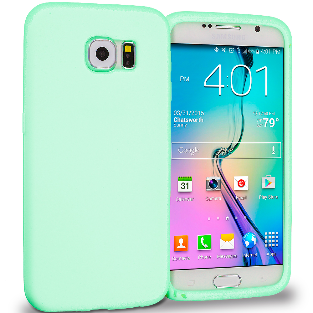 Samsung Galaxy S6 4 in 1 Combo Bundle Pack - Silicone Soft Skin Rubber Case Cover : Color Mint Green