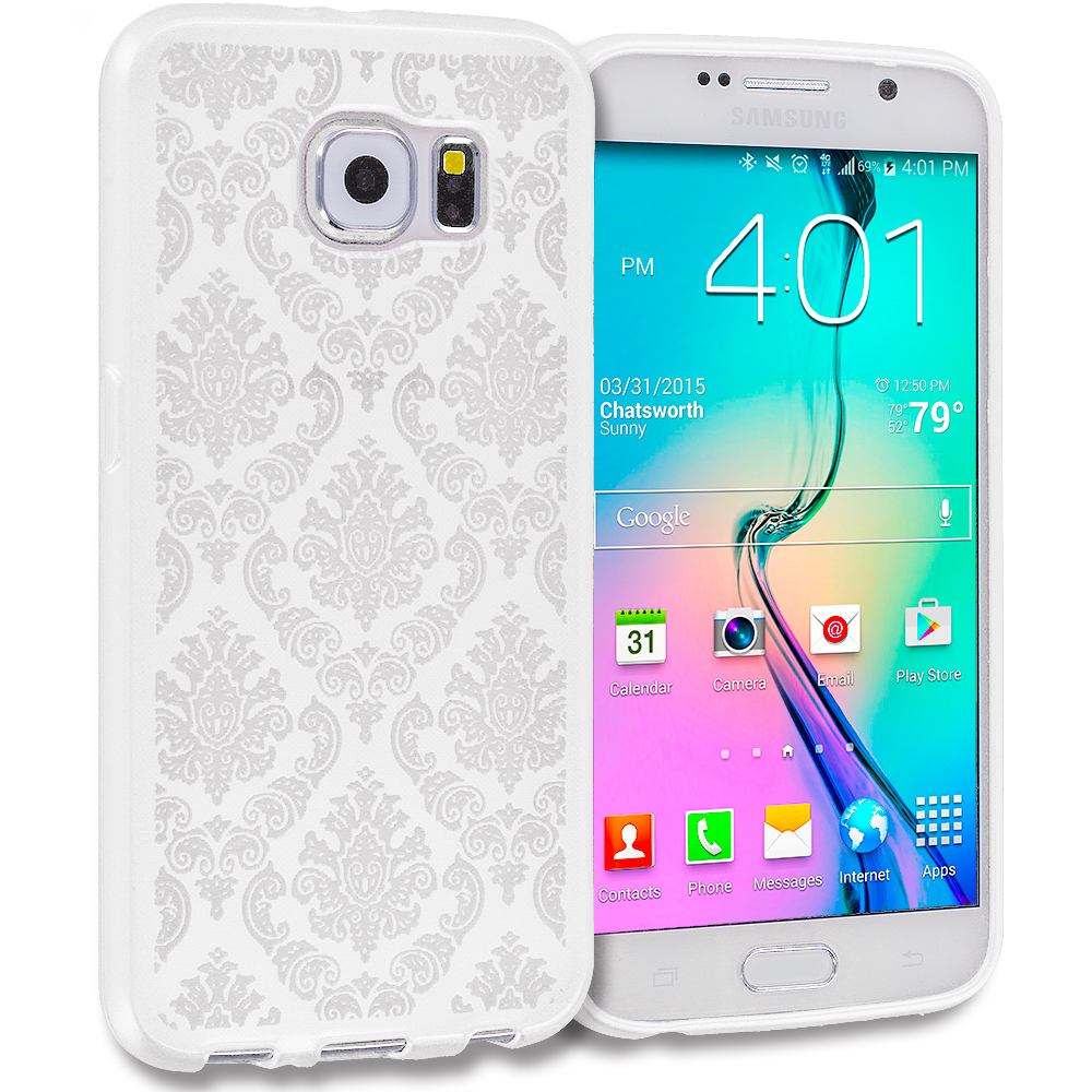 Samsung Galaxy S6 White TPU Damask Designer Luxury Rubber Skin Case Cover