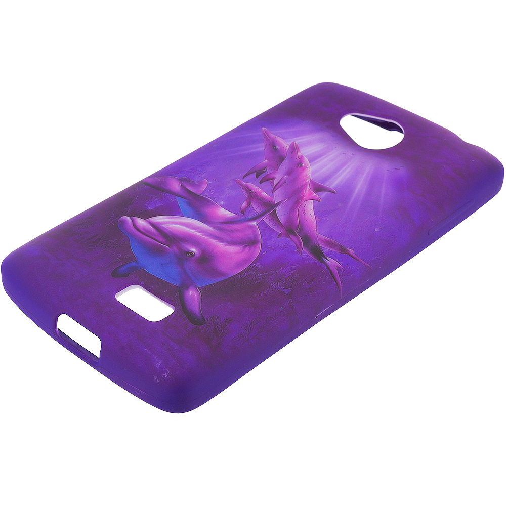 LG Transpyre Tribute F60 Purple Dolphin TPU Design Soft Rubber Case Cover