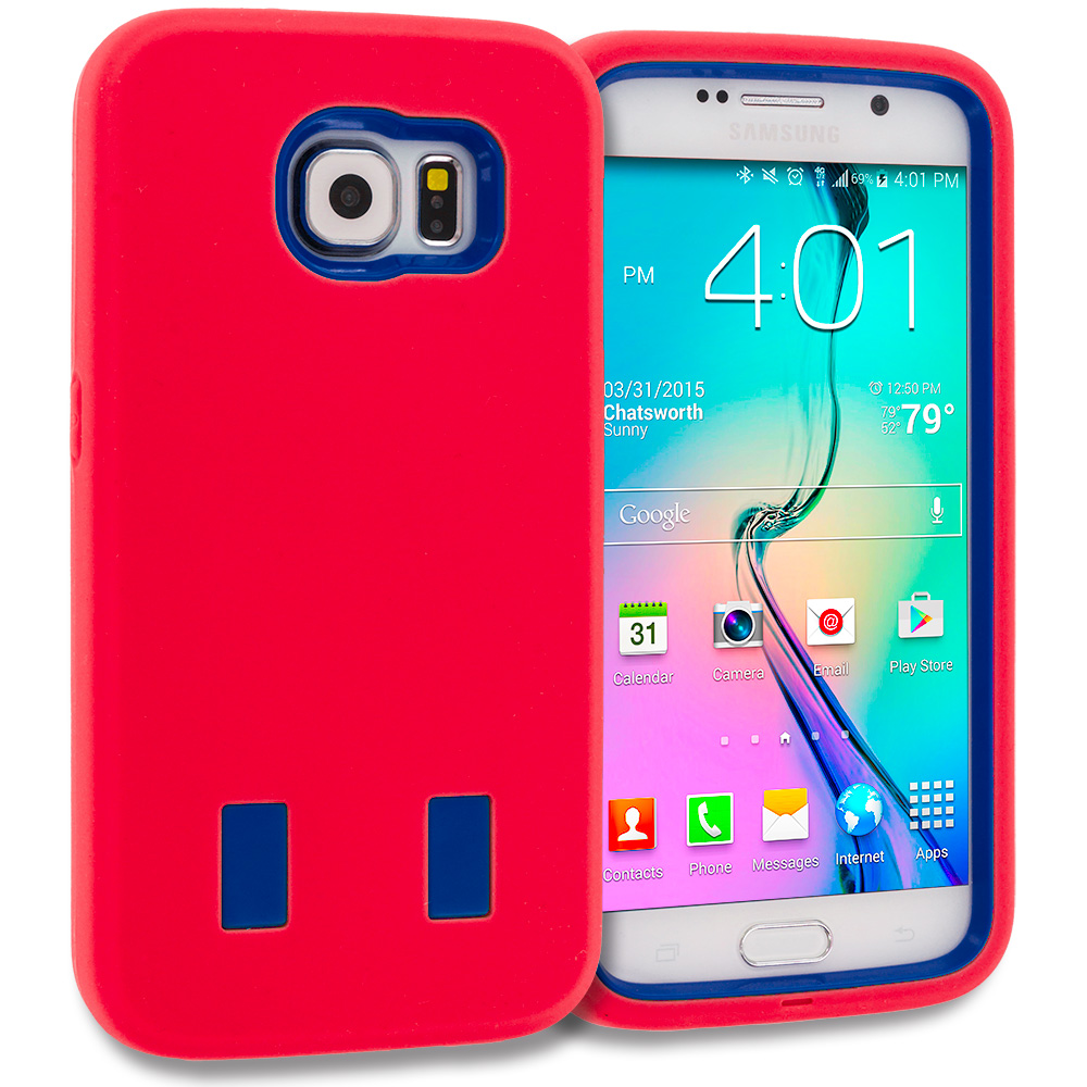 Samsung Galaxy S6 Red / Blue Hybrid Deluxe Hard/Soft Case Cover
