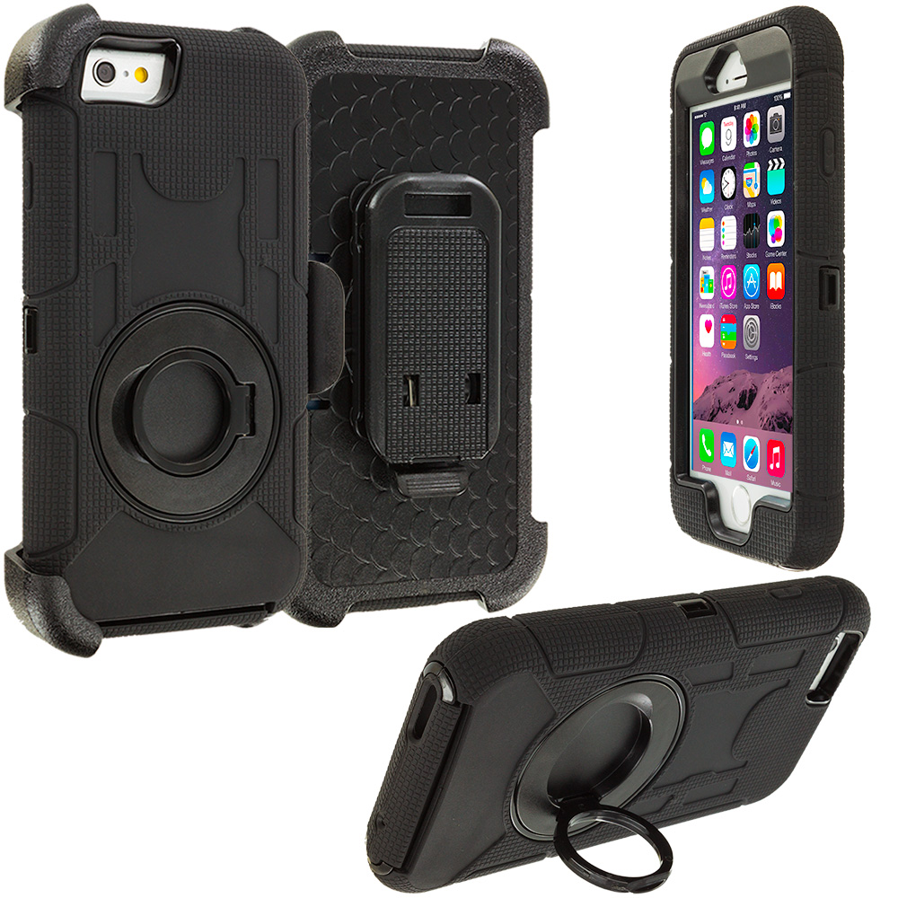 Apple iPhone 6 6S (4.7) Black Hybrid Heavy Duty Shockproof Armor Case Cover With Rotating Belt Clip Holster