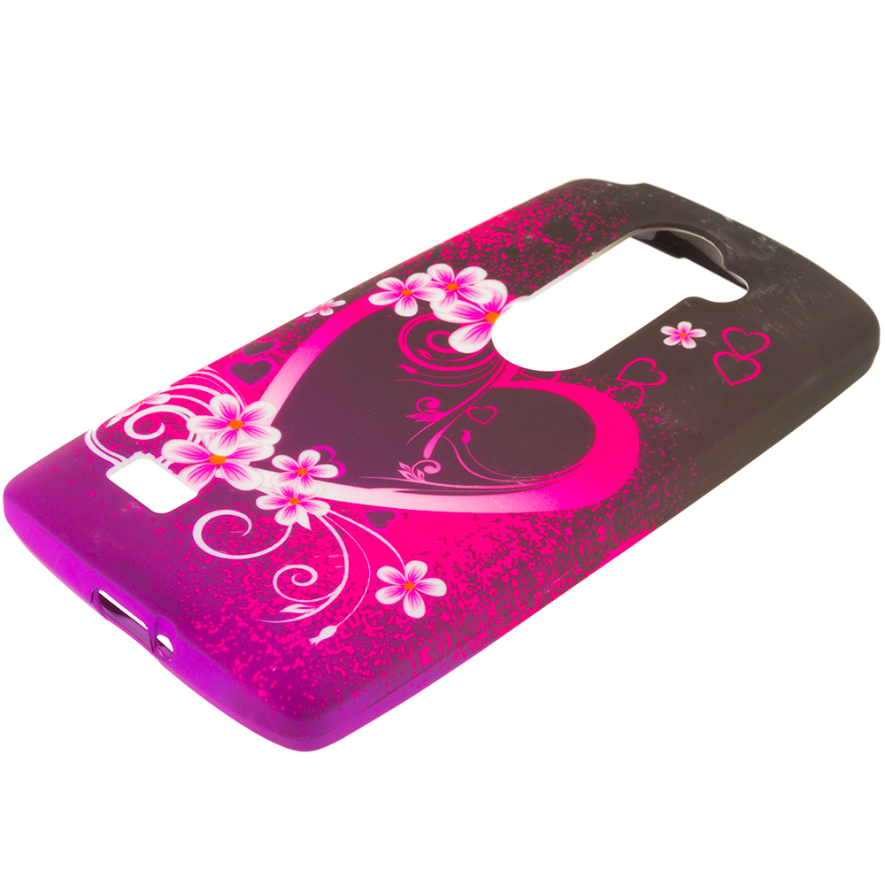 LG Tribute 2 Leon Power Destiny Purple Love TPU Design Soft Rubber Case Cover
