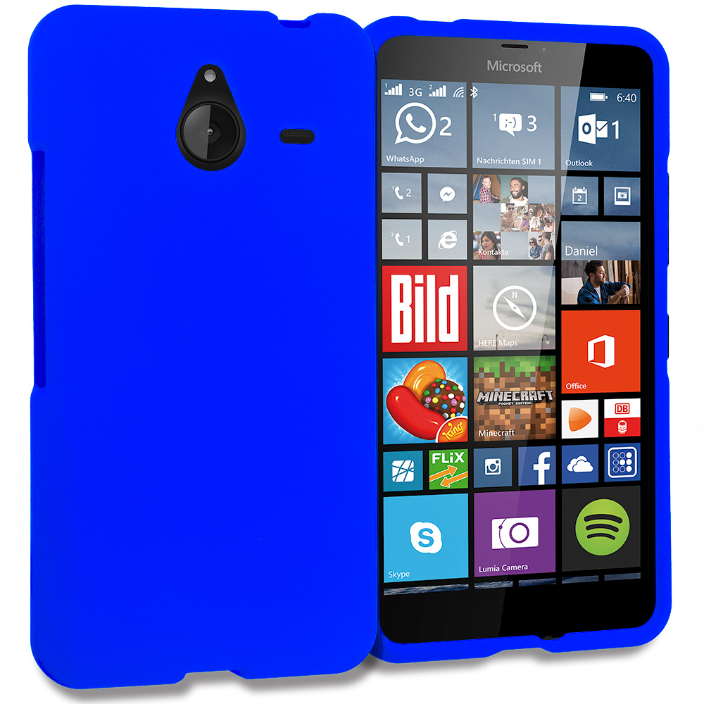 Microsoft Lumia 640 XL Blue Hard Rubberized Case Cover
