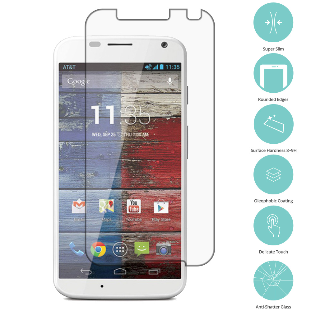 Motorola Moto X 2nd Gen Clear Tempered Glass Film Screen Protector Clear