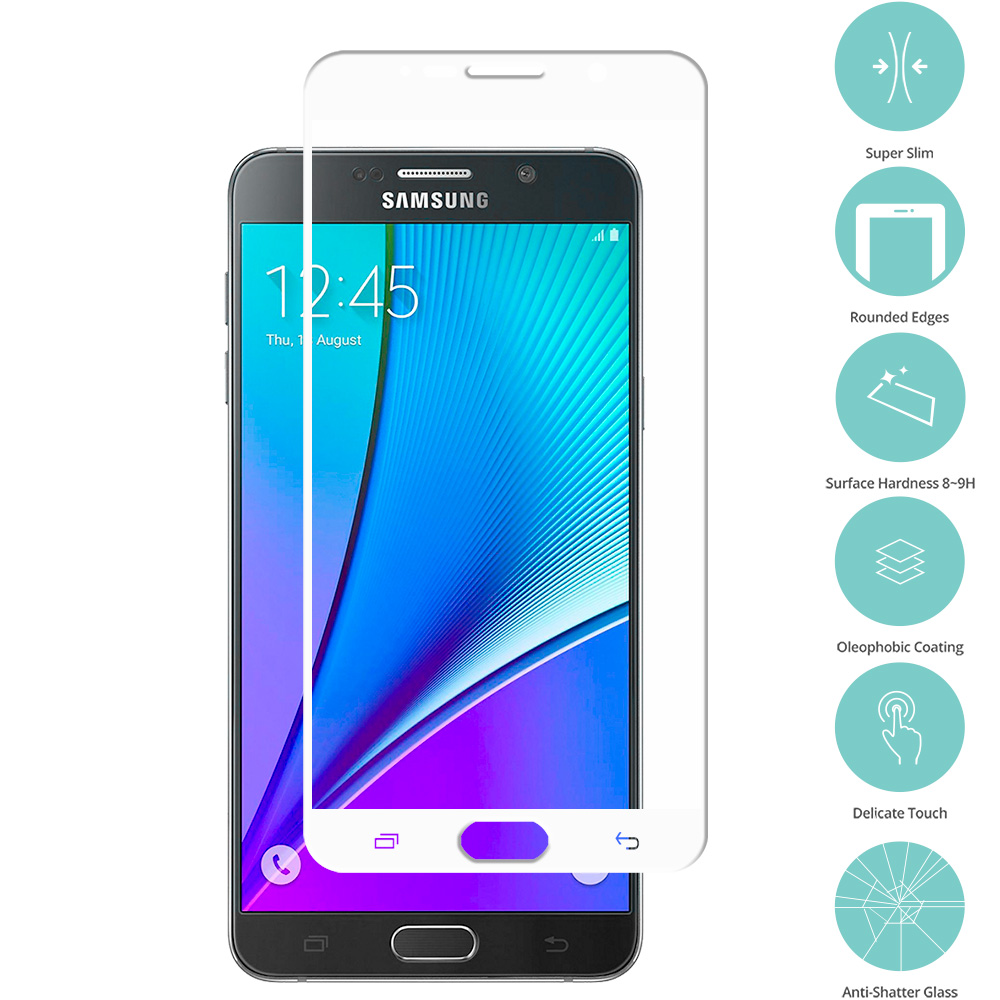 Samsung Galaxy Note 5 White Tempered Glass Film Screen Protector Colored