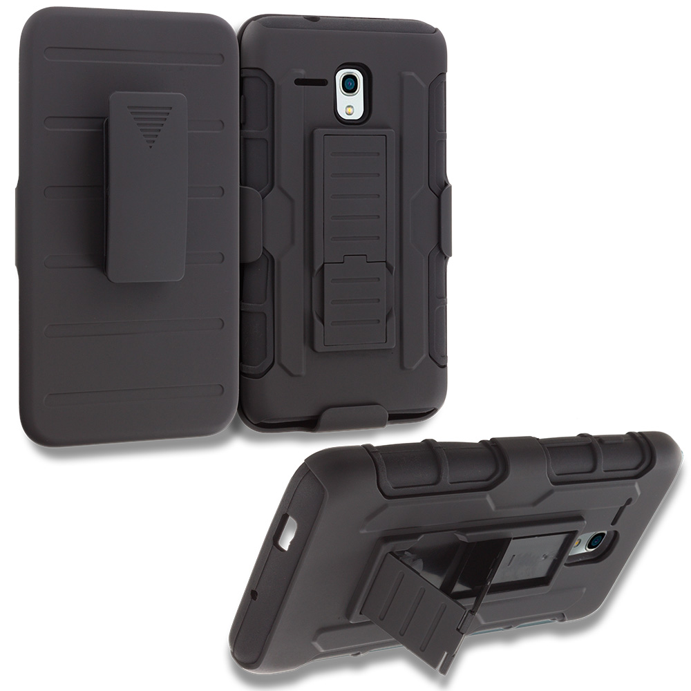 Alcatel OneTouch Fierce XL Black Hybrid Rugged Robot Armor Heavy Duty Case Cover with Belt Clip Holster