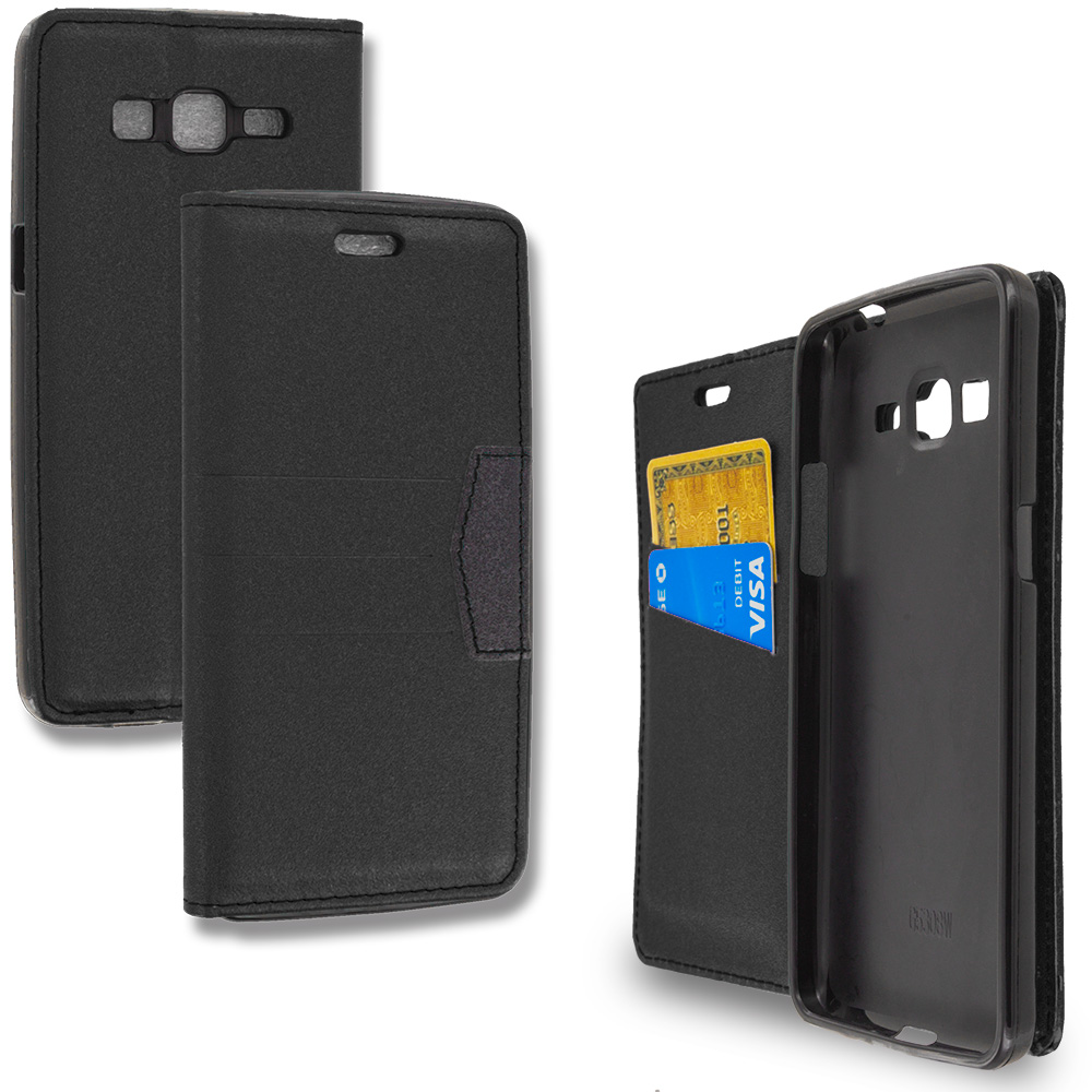 Samsung Galaxy Grand Prime LTE G530 Black Wallet Flip Leather Pouch Case Cover with ID Card Slots